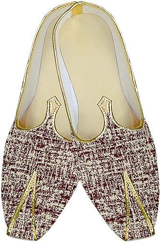 INMONARCH Herren Beige und Dunkelrot Polyester Hochzeit Schuhe MJ13139