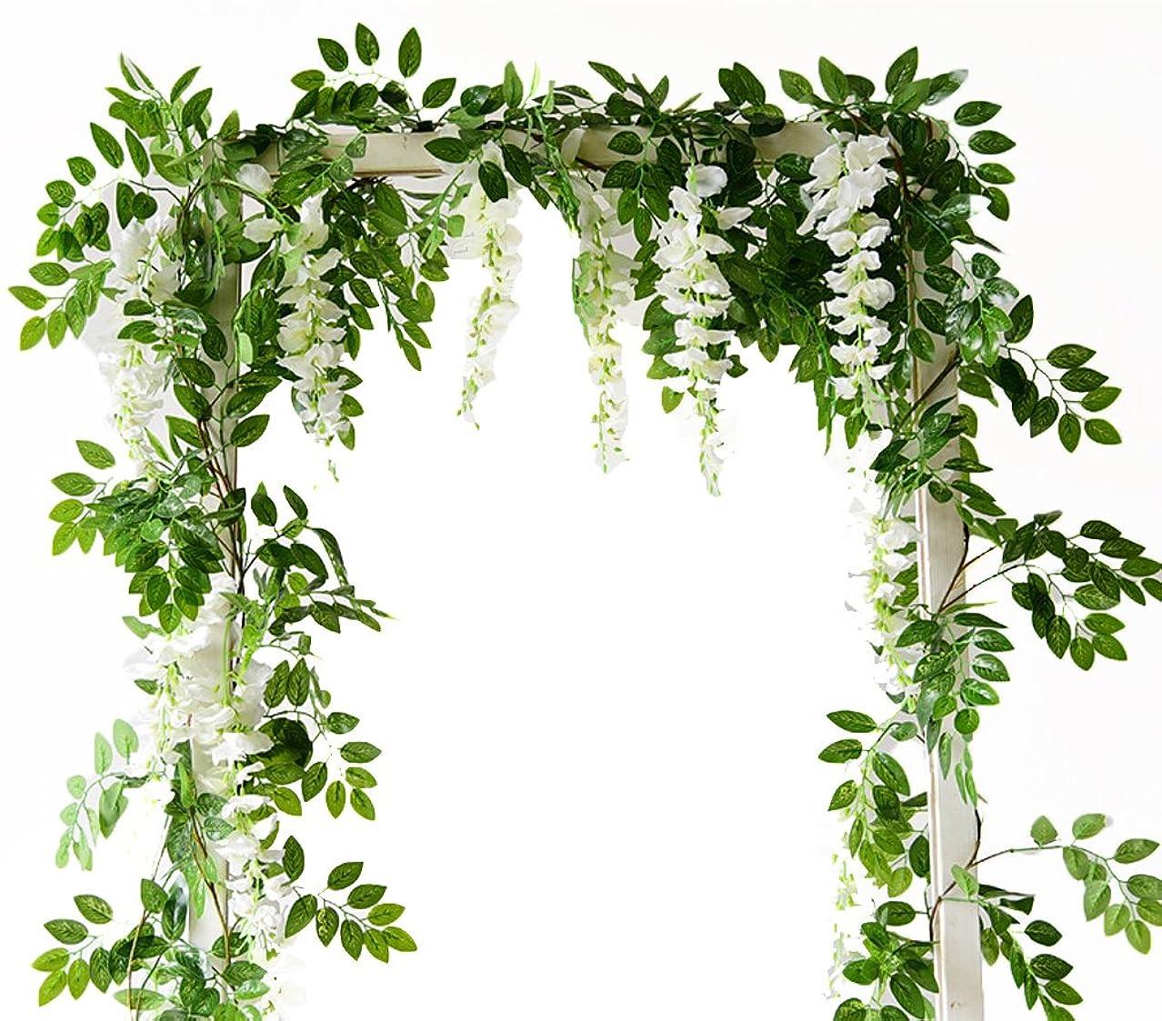メキシコまともな香ばしい(Cream) - 2m Artificial Flowers Silk Wisteria flowers Ivy Vine Green Leaf Hanging Vine Garland for Wedding Party Home Garden Wall Decoration Pack of 2, Cream