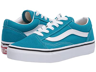 Vans Kids Old Skool (Little Kid) (Caribbean Sea/True White) Kids Shoes