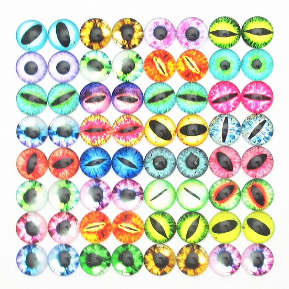 Dandan DIY 40pcs 10mm/0.4'' Assorted Colors Cool Eye Glass Resin Flatback Flat Backs Glass Dragon Cat Eyes Phonecover Scrapbooking Diy Handmaking Craft Supply (10mm/0.4'') l244482232