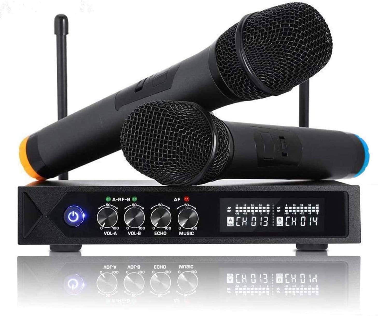 Micrófonos Inalámbrico Profesional Portátil, Receptor de Micrófono Dual con Pantalla LCD para Fiesta de Karaoke, KTV, Lugares de Entretenimiento, Boda ...