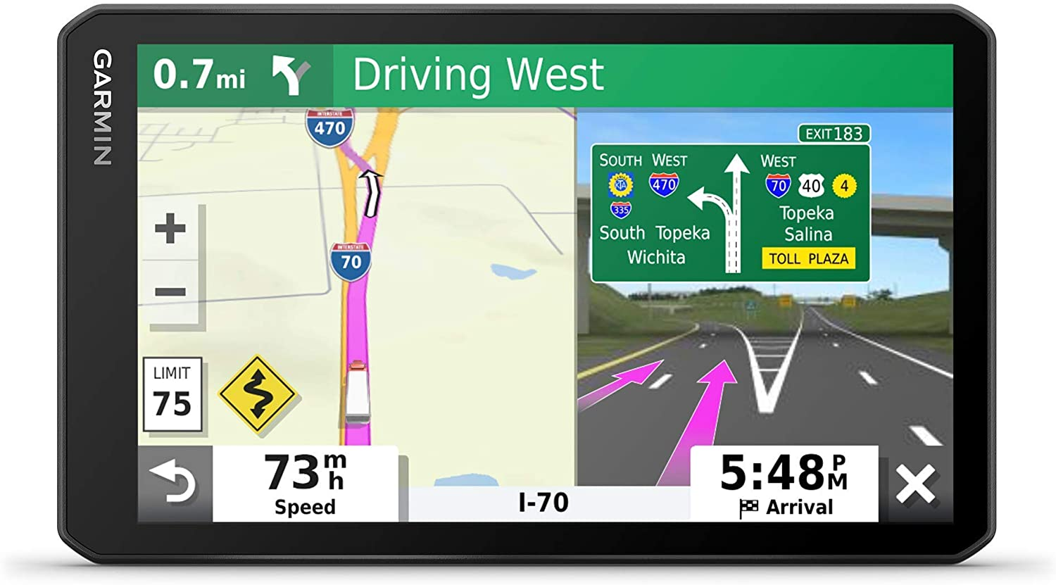 Garmin dezl OTR700, 7-inch GPS Truck Navigator, Easy-to-Read Touchscreen Display, Custom Truck Routing and Load-to-Dock Guidance, 7 Inch (Renewed): GPS & Navigation