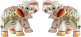 """مد Bizz هند صنایع دستی دکوراسیون منزل مرمر Meena Elephant Pair 2 """""""