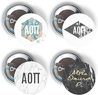 Alpha Omicron Pi Sorority 4 Pieces of Variety Buttons Pin Back Badge 2.25-inch AOII - Marble Pack