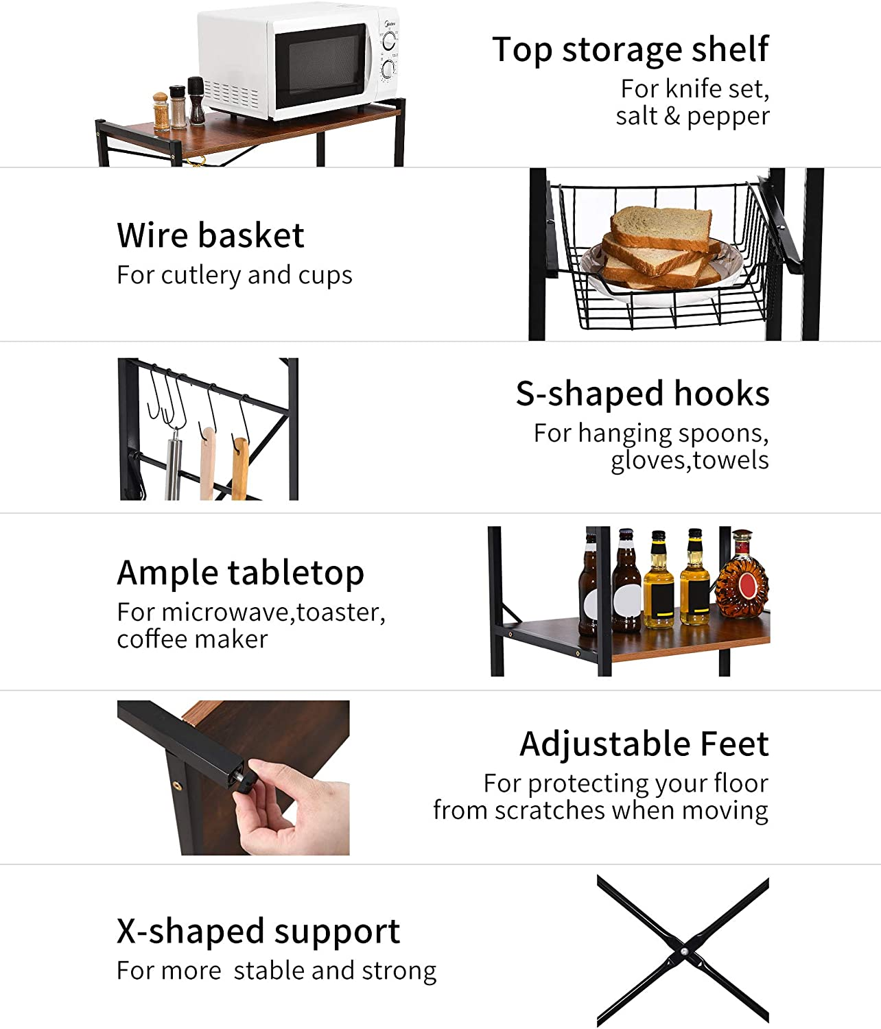 YITAHOME Kitchen Bakers Rack,Microwave Oven Stand,Kitchen Utility Storage Shelf,Kitchen Workstation Organizers Rack with 2 Slide-Out Baskets,10 Hooks,Free Standing Utility Storage Shelf Organizer
