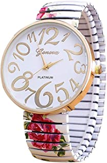 Casual Watch For Women Red Rose With Colorful Metal Band