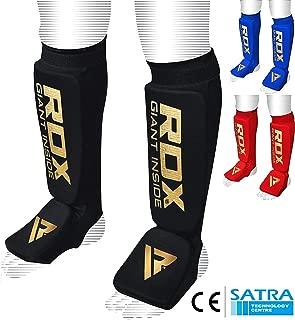 RDX Espinilleras de Piel Boxen espinilleras Muay Thai Artes Marciales Kickboxing Espinilleras (Certificado CE Aprobado por Satra)