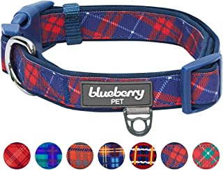 Blueberry Pet 7 Patterns Soft & Comfy Scottish Plaid Neoprene Padded Dog Collars