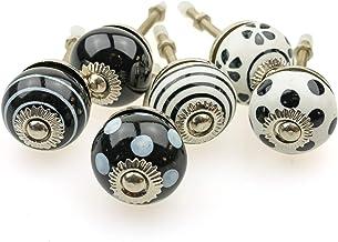 Möbelknopp möbelknopp möbelhandtag uppsättning av 6 KLEIN 086GN_SM prickar cirklar avtryck vit svart jay knapp keramik por...