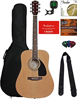 Fender FA-115 Dreadnought Acoustic Guitar - Natural Bundle with Fender Play Online Lessons,