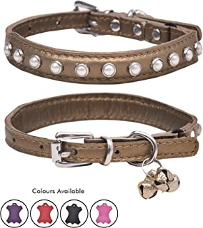 Real Lamb Leather White Glass Pearl Studded Cat Collar with Breakaway Safety Elastic Embellished with Detachable Handcrafted Indian Bells