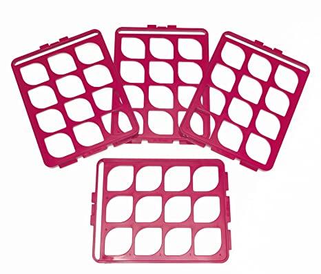 Pack of 4 Bel-Art F18745-1600 Switch-Grid Test Tube Rack Grid; 13-16mm Blue