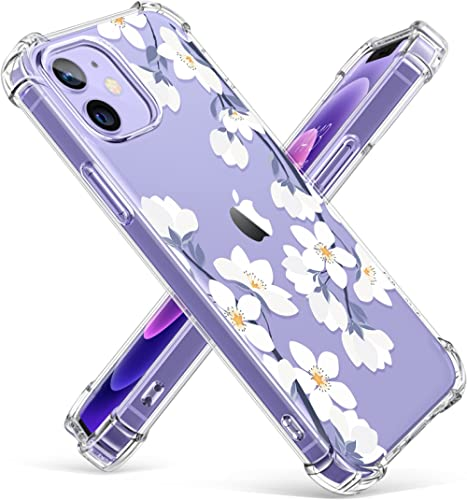 GVIEWIN Clear Floral Case Compatible with iPhone 12 and iPhone 12 Pro 6.1 Inch 2020, Soft & Flexible TPU Shockproof C...