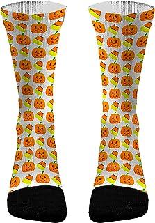 Candy Corn Pumpkin Halloween Socks | Athletic Compression Novelty Dri-Fit Socks