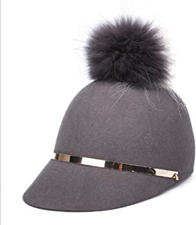 Lxy New Winter hat Female Stereotype top hat hat Hair Ball Cap hat Slim Wildcats wk (Color : Gray, Size : M)