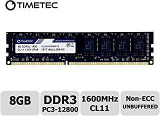 Timetec Hynix IC DDR3L 1600MHz PC3-12800 Unbuffered Non-ECC 1.35V CL11 2Rx8 Dual Rank 240 Pin UDIMM PC Sobremesa Memoria Principal Module Upgrade (8GB)