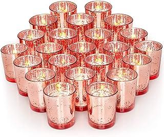 Volens Gold Votive Candle Holders, Mercury Glass Tealight Candle Holder Set of 72 Rose Gold