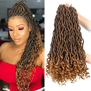 6 Packs/Lot Faux Locs Crochet Hair Braiding Goddess Locs Crochet Hair Braids with Curly Ends Deep Wave Wavy Pre Looped 24 Roots/Pack Ombre Twist Braiding Synthetic Hair Extensions (1B/27)