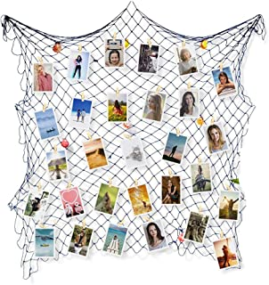 WANFULDA Decorative Fishing Net Photo Artwork Hanging Display Wall Photographing Decorations Mediterranean Seaside Themed Party Decor with Wooden Clips for Home Wedding Party Decoration(2x1M(Blue)