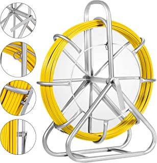 Happybuy 6mm425ft Duct Rodder Fish Tape Continuous Fiberglass Wire Cable Running with Cage and Wheel Stand, 6MM 425FT
