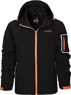 Men's Waterproof Jacket Hooded Windbreaker Softshell...