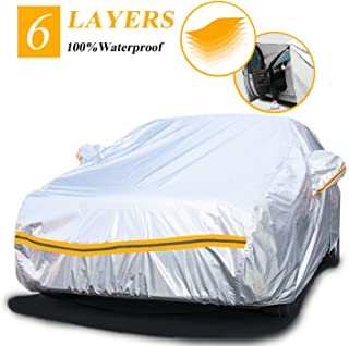 Autsop Car Covers Waterproof,Car Cover for Sedan/SUV/Hatchback 6 Layers All Weather Protection Universal Full Cover with Z...