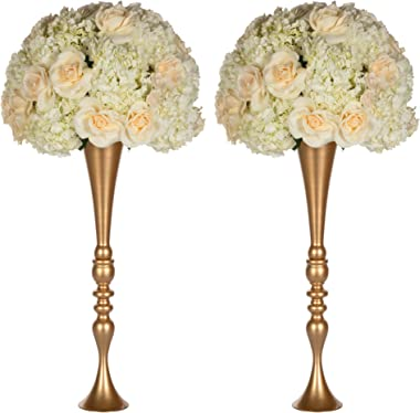 Amalfi Decor 2 Piece Tall Wedding Centerpiece Metal Trumpet Vase for Flower Ball Floor Cylinder Bouquet Aisle Decoration for