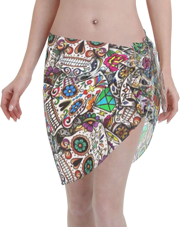 Mexican Sugar Skulls Women Chiffon Beach Cover ups Beach Swimsuit Wrap Skirt wrap Bathing Suits for Women