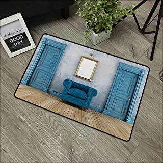 Interior mat W35 x L59 INCH Antique,Empty Room with Two Doors Armchair and Simple Mirror with Golden Color Frame,Blue Sand Brown Natural dye printing to protect your baby's skin Non-slip Door Mat Carp