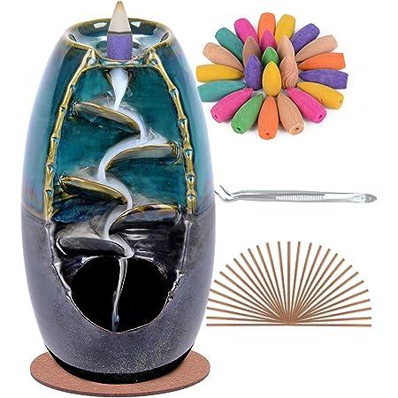 SPACEKEEPER Bruciatore di incenso a riflusso, decorazioni per la casa in ceramica per aromaterapia con 120 coni di incenso a riflusso + 30 bastoncini di incenso, blu