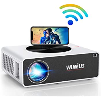 """WiFi Projector, WiMiUS K3 7500L Video Projector Native 1920x1080 LED Projector 10000:1 Contrast Support 4K 500"""" Display Zoom Function Works with Fire TV Stick PC DVD PS4 Smartphones (White)"""
