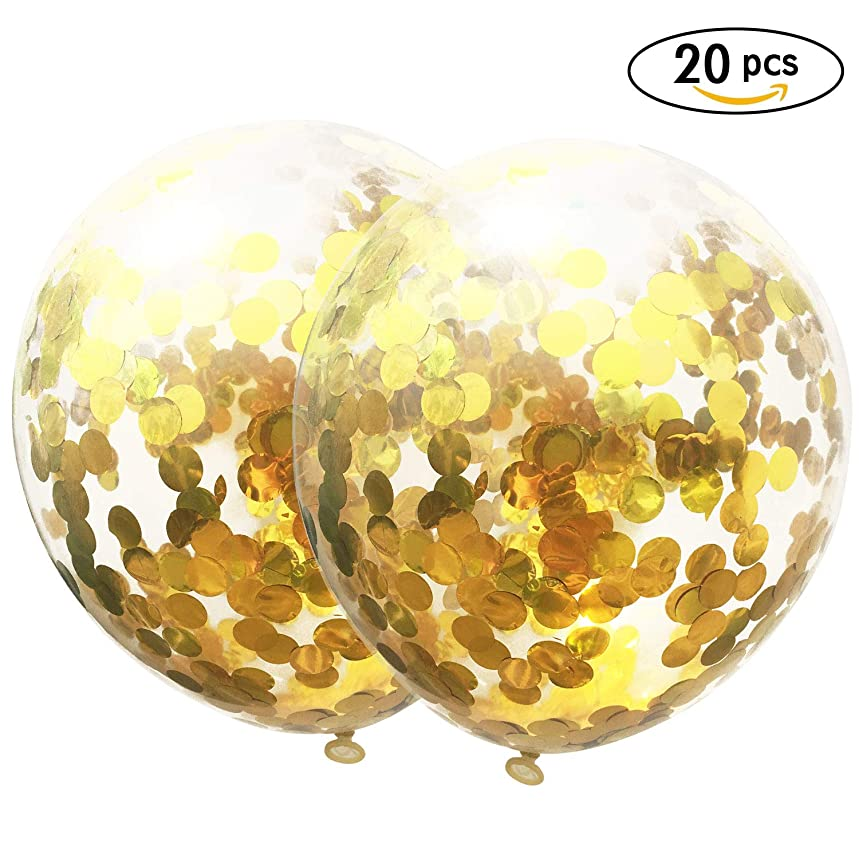 AMAWILL 20 Pieces Gold Confetti Balloons, 12 Inch Party Balloons with Golden Paper Confetti Dots for Birthday Wedding Get Together