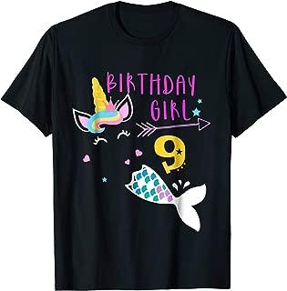9th Birthday Girl Unicorn Mermaid Tail 9 Years Old Shirt