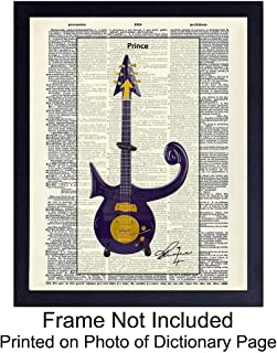 Prince Guitar Wall Art Print on Dictionary Photo - Ready to Frame (8x10) Vintage Photo - Great Gift for 80s Music Fans - Perfect for Music Studio - Chic Home Decor