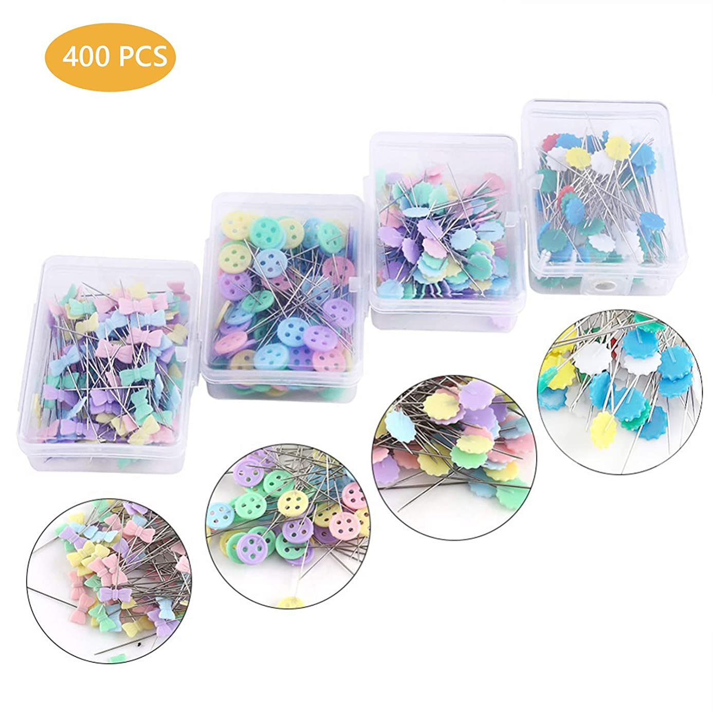 400 Pieces Flat Button &Flower Head Pins,Straight Pins, Quilting Pins with Cases Sewing DIY Projects Dressmaker Jewelry Decoration (4 Type)