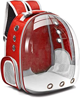SKEIDO Cat bag Breathable Portable Pet Carrier Bag Outdoor Travel backpack for cat and dog Transparent Space pet Backpack-red