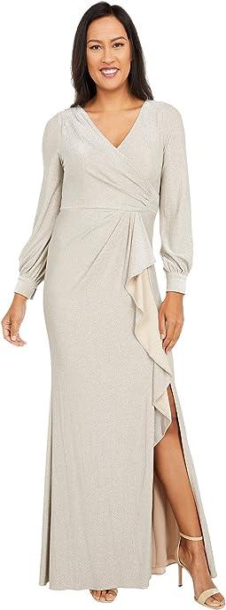 Long Sleeve Metallic Knit Wrap Front Mermaid Gown