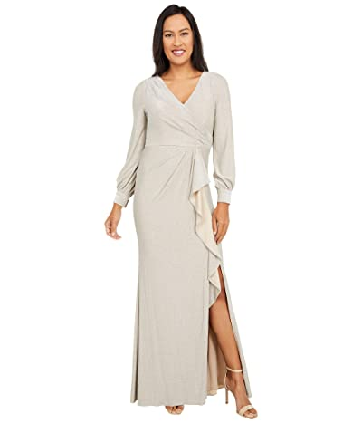 Adrianna Papell Long Sleeve Metallic Knit Wrap Front Mermaid Gown Women