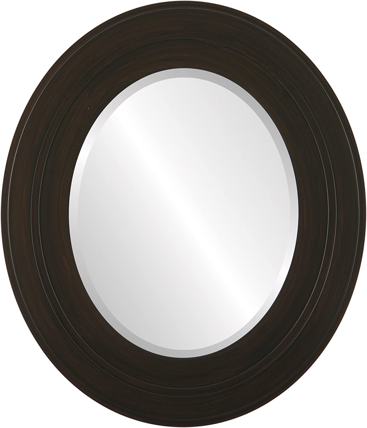 Oval Beveled Wall Mirror for Home Decor - Palomar Style - Black Walnut - 21x25 Outside Dimensions