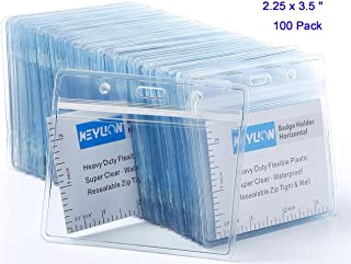 KEYLION 100 Pack Horizontal Name Tag Name Badge ID Card Holders, Heavy Duty Clear Plastic ID Sleeve Pouch with Waterproof Type Resealable Zip, fit 2-1/4