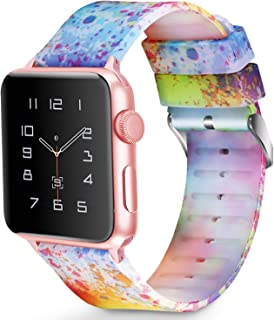Greatfine Compatible with Apple Watch Band 38MM 42MM, Women Fashion Soft Silicone iWatch Bands Replacement Strap Compatible with Apple Watch Series 3 2 1, Sport Nike+ and Edition