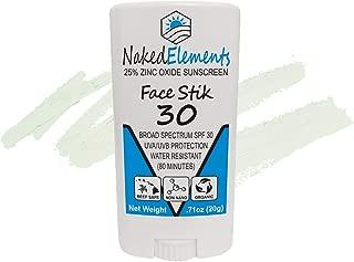 Naked Elements Face Stik Sunscreen Stick SPF 30, All-Natural Reef-Safe 25% Non-Nano Zinc Oxide, Broad Spectrum, Organic, Original (Vanilla)