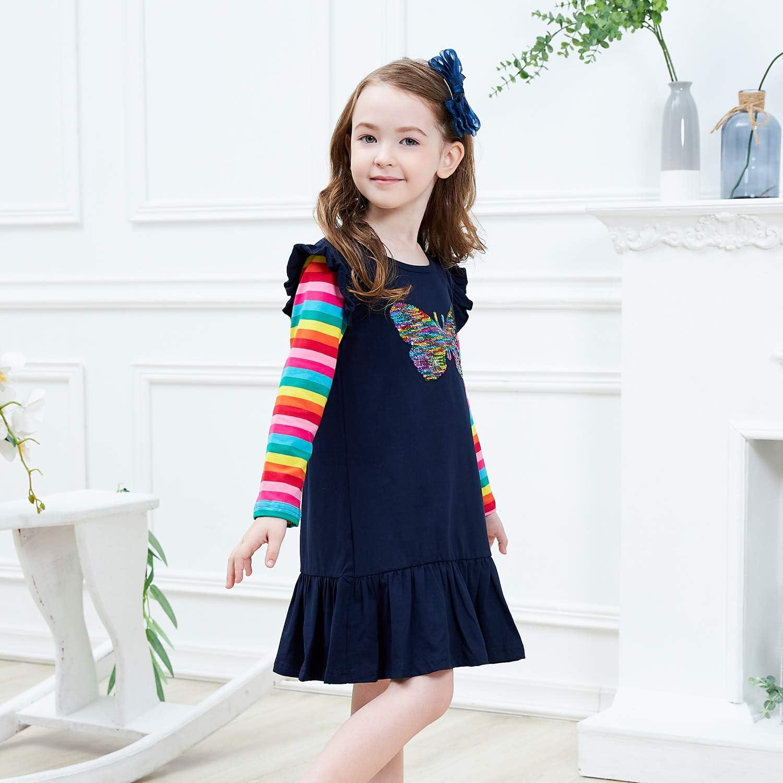 VIKITA Girls Dress Kids Dress Long Sleeve Dresses Cotton Embroidery Rainbow Flower Print Age 1-8 Years
