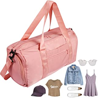 Women Gym Duffle Bag with Shoes Compartment Wet Pocket, Sports Swim Travel Overnight Duffels Pink