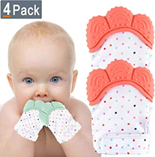 NEPAK Teething Mitten 2 Pairs-Baby Glove Stimulating Teether Toys for Boys & Girls-Teething Glove for 3-6 Months Baby (Coral and Mint Colours)