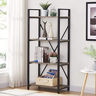 BON AUGURE Bookshelf 4-Tier Shelving Unit Metal Shelves Open Narrow Etagere Bookcase for Office Living Room (Dark Gray Oak)
