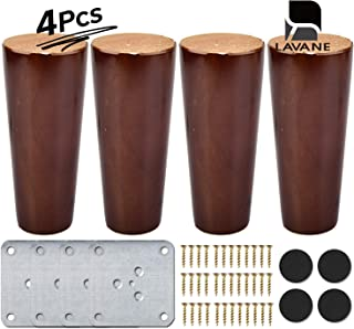 5 inch / 12cm Wooden Furniture Legs, La Vane Set of 4 Walnut Solid Wood Cone Shaped Furniture Replacement Feet with Mounting Plate & Screws for Sofa Chair Couch Loveseat