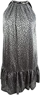 MICHAEL KORS Womens Silver Printed Metallic Halter Above The Knee Shift Party Dress US Size: L