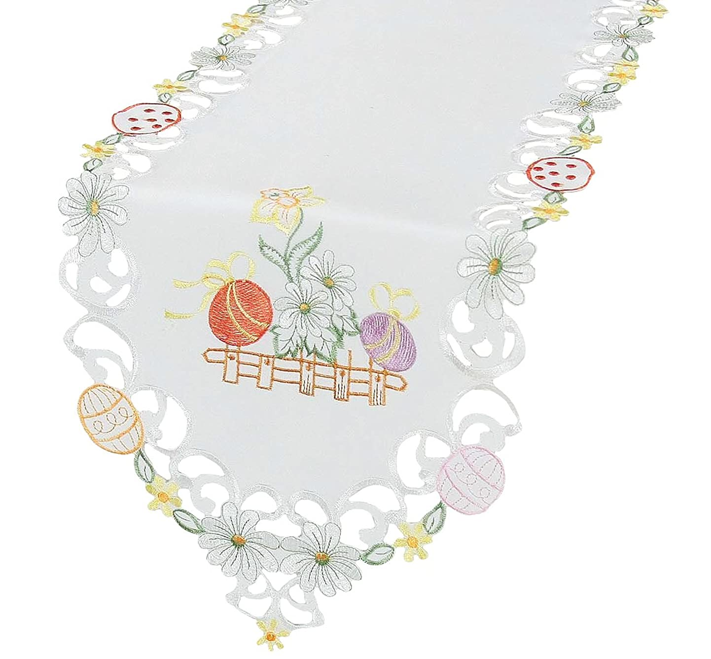 Xia Home Fashions Country Egg Embroidered Cutwork Easter Table Runner, 15 by 70-Inch dfbzyalglge4