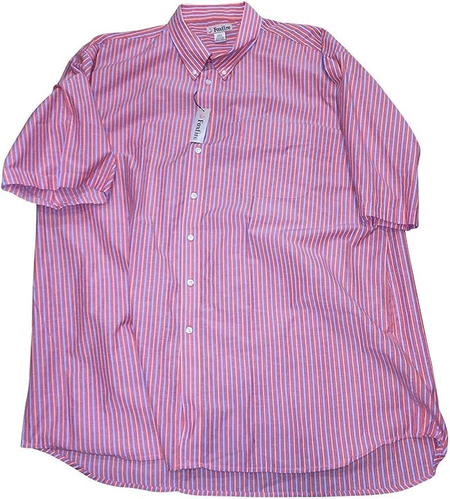 FOXFIRE Big and Tall Short Sleeve Salmon Stripe Casual Shirt